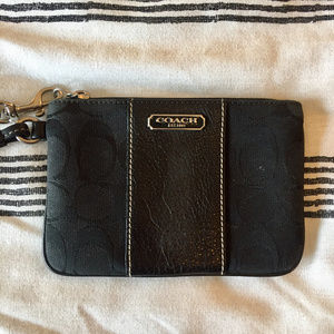 Canvas/Leather Coach Wristlet